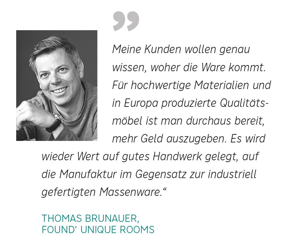 Wohntrends 2020_Zitat Innendesigner Thomas Brunauer, Found' Unique Rooms